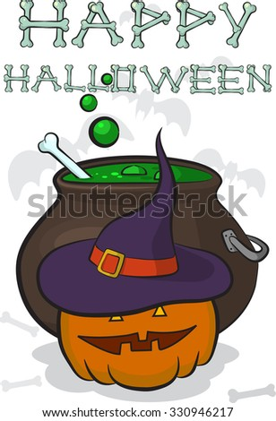 Happy Halloween Wish Written Of Bones. Pumpkin With Hat In Front Of The  Cauldron