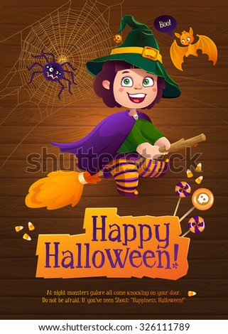 Happy Halloween Witch Girl Flying on Broom. Greeting Card with Cute Bat and Silly Spider. - stock vector