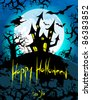 Happy Halloween with creepy haunted house - stock vector