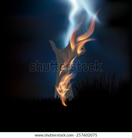 Happy Halloween with hand ghost and fire background vector.illustration - stock vector