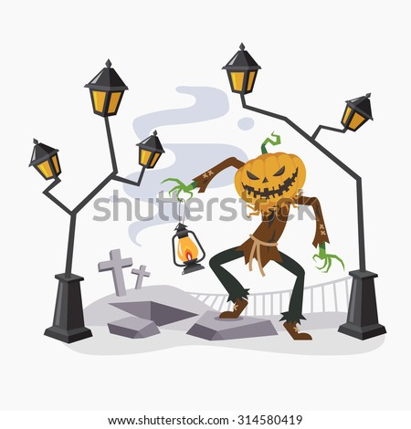 Happy Halloween with Pumpkin Head, Vector illustration