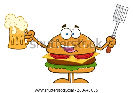 Happy Hamburger Cartoon Character Holding A Beer And Bbq Slotted Spatula. Vector Illustration Isolated On White - stock vector