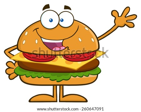 Happy Hamburger Cartoon Character Waving. Vector Illustration Isolated On White - stock vector