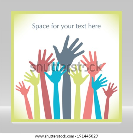 Happy hands design with copy space.  - stock vector