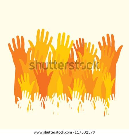 happy hands vector - stock vector