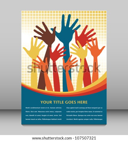 Happy hands with copy space vector. - stock vector