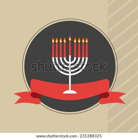 happy hanukkah, jewish holiday. Hanukkah menora with red ribbon - stock vector