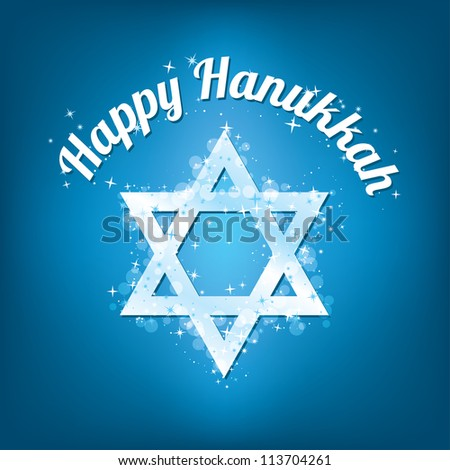 Happy Hanukkah text with a sparkling Star of David - stock vector