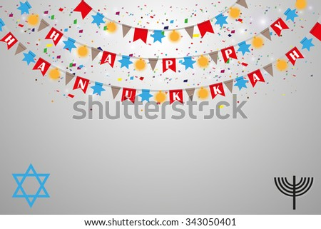 Happy Hanukkah. Text with a Star of David - stock vector