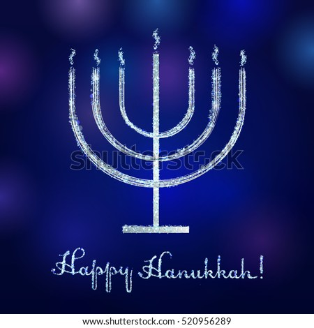 Happy Hanukkah vintage greeting card design. Silver or golden lighting menorah sign on the blue background. Israel seven fire candle vector icon.
