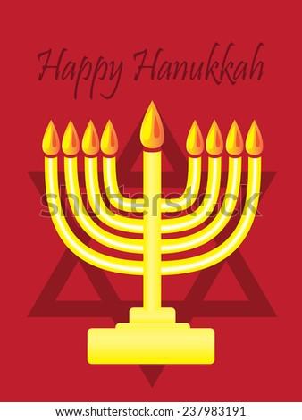 Happy Hanukkah with menorah on red background - stock vector