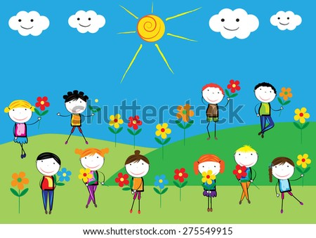 Happy, healthy and colorful girls and boys with flowers - stock vector
