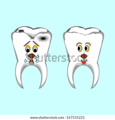 Happy healthy and sad sick teeth. Funny cartoon illustration. Vector art - stock vector
