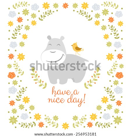 Happy hippo on floral background - stock vector