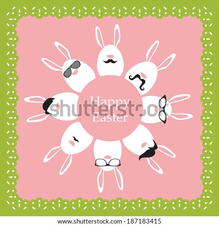 Happy Hipster Easter - set of stylish bunny/eggs icons. Retro card - stock vector