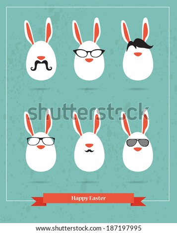 Happy Hipster Easter - set of stylish BUNNY icons - stock vector