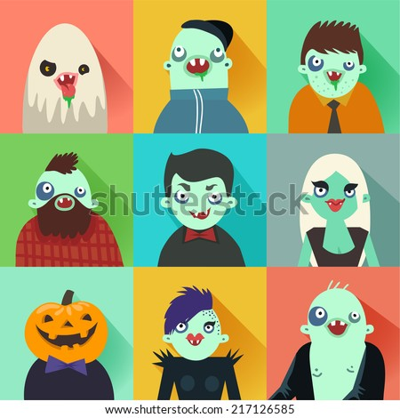 Happy Hipster Halloween set of avatars. Flat long shadow icons with zombies characters. Vector illustrations.  - stock vector