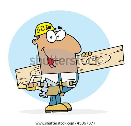 Happy Hispanic Worker Man - stock vector