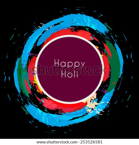 happy holi text surround with colorful splash - stock vector