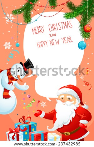 Happy holiday card with Santa Claus and snowman. Festive background with copy space. - stock vector