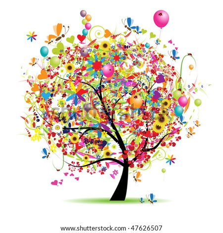 Happy holiday, funny tree with ballons - stock vector