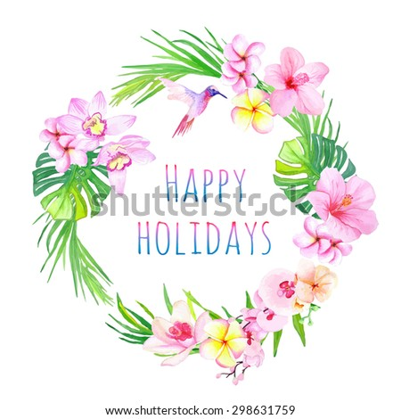 Happy holidays and tropical flowers vector design frame. All elements are isolated and editable. - stock vector