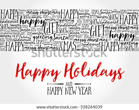 Happy Holidays. Christmas background word cloud, holidays lettering collage - stock vector