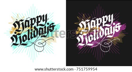 Happy Holidays Christmas Modern Blackletter Greeting Cards