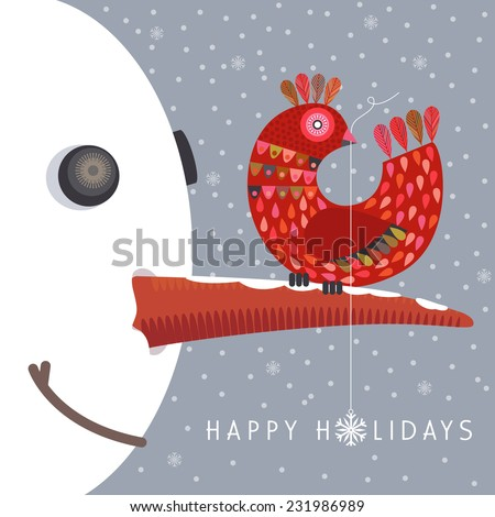 Happy holidays concept. Cute colorful bird sits on snowman's nose. Contemporary, modern design on gray color background. Vector EPS 10 illustration. - stock vector