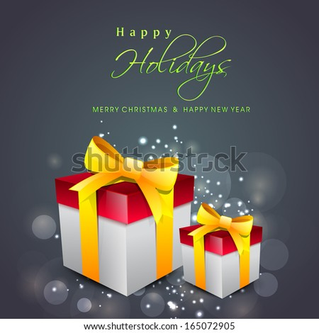 Happy Holidays concept with gift boxes wrapped in golden ribbon on grey background.