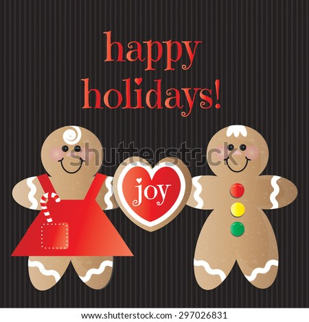 Happy Holidays Gingerbread Girl and Boy with Heart Cookie on Black - stock vector