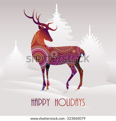 Happy holidays greeting card with a deer, eps10 vector - stock vector