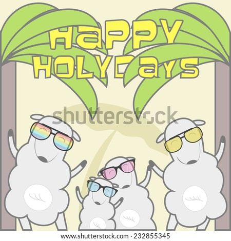 Happy Holidays greeting card with sheep family on the beach. Vector illustration - stock vector
