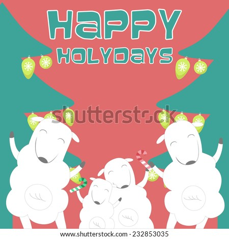 Happy Holidays greeting card with sheep family. Vector illustration. - stock vector
