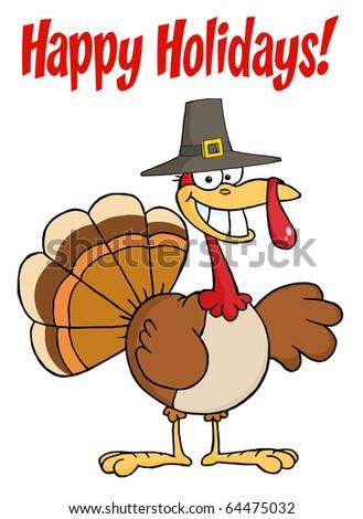 Happy Holidays Greeting With Turkey Cartoon Character - stock vector
