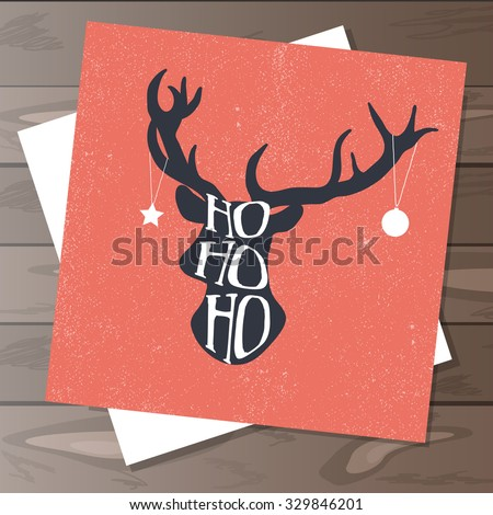 Happy Holidays hand-drawn design with deer - stock vector