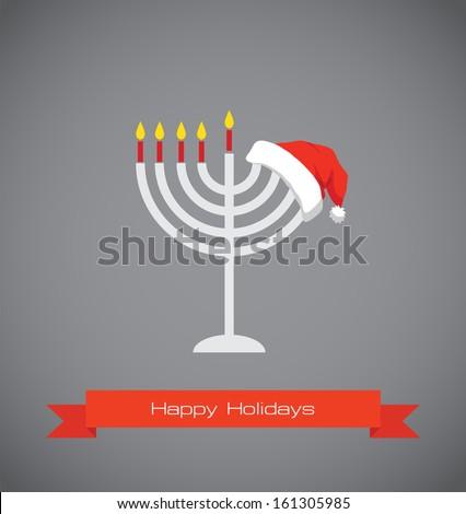 happy holidays; merry christmas and happy hanukkah - stock vector