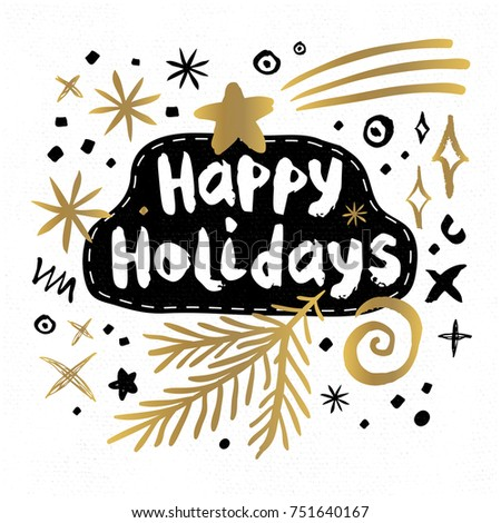 Happy Holidays New Year Sketch Style Stock Vector 751640167 ...