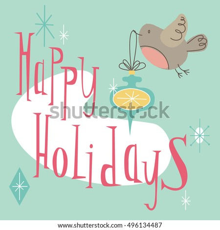 happy holidays retro holiday card with cute bird in mid century modern style bright