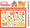 happy holidays signs. vector - stock vector