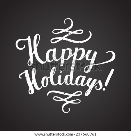 happy holidays text - stock vector