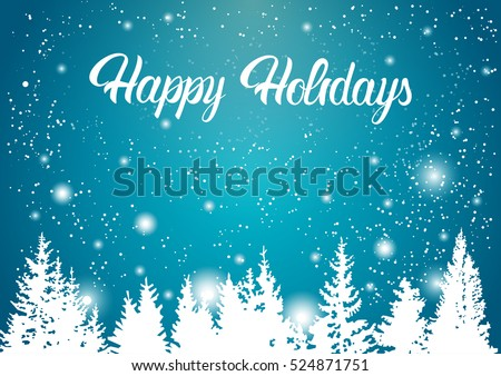 Happy Holidays Winter Mountain Forest Landscape Background, Pine Snow Trees Woods Flat Vector Illustration