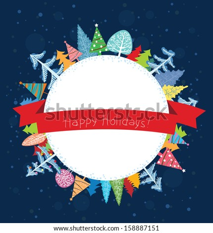 Happy Holidays wishes card - stock vector