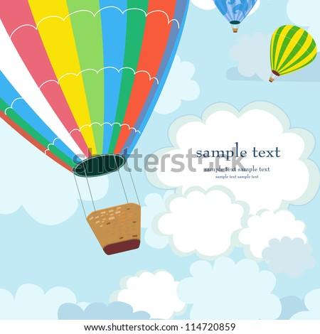 Happy hot air balloon - stock vector
