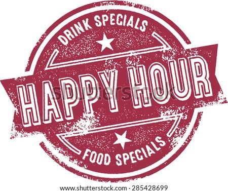 Happy Hour Bar Menu Stamp - stock vector