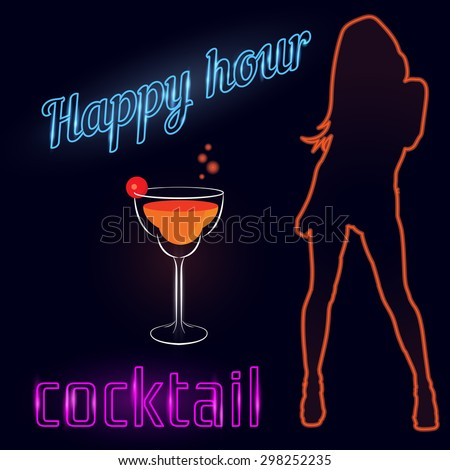 Happy hour cocktail background in neon style