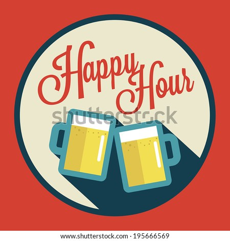 happy hour illustration with beer over vintage background - stock vector