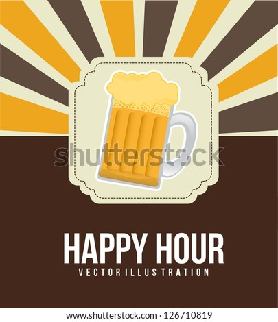 happy hour illustration with beer over vintage background. vector - stock vector