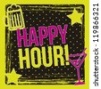happy hour label over black background. vector illustration - stock vector