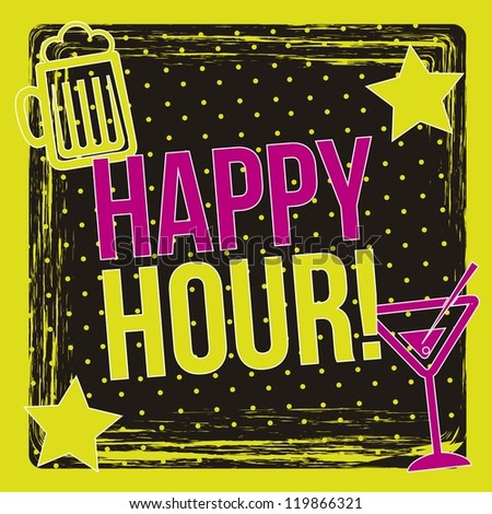 happy hour label over black background. vector illustration - stock vector